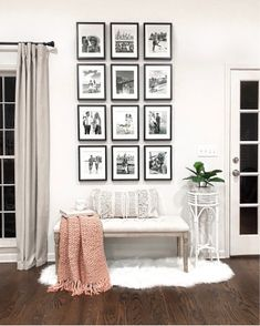 Trendy home decored living room pictures rugs Ideas Living Room Bench, Living Room White, White Rooms, New Living Room, Living Room Decor, Living Room Gallery Wall, Picture Wall Living Room, Gallery Walls, Cream And Black Living Room
