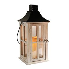 LumaBase Wooden Lantern with Metal Roof and LED Candle & Reviews | Wayfair