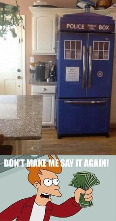 Tardis fridge,,,Oh Yes...My Duct tape and I are going to have lots of fun with this idea...