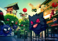 Gengar gang and Bug POkemon in little Toyko by Ninja-Jamal on deviantART