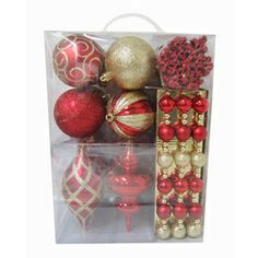 Holiday Living 40-Pack Red Shatterproof Ornaments  Lowes - $29.97  Great variety