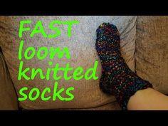 Best Ideas For Knitting Socks Tutorial Round Loom Knitting Loom Socks, Round Loom Knitting, Loom Knitting Stitches, Loom Knit Hat, Knifty Knitter, Loom Knitting Projects, Knit Socks, Knitting Tutorials, Knitting Machine