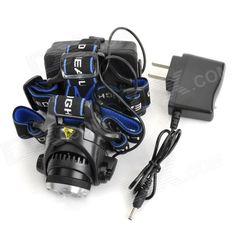Cree XM-L T6 600lm 3-Mode White Zooming Headlamp - Black (2 x 18650)
