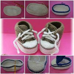 How to Make Cute Crochet Baby Sneakers! Homemade baby shoes for baby gifts are easier than you think. You can create a nice one with a crochet hook and some yarn! They look so warm and comfy for the little feet and toes! Converse En Crochet, Crochet For Boys, Crochet Baby Booties, Crochet Slippers, Knit Or Crochet, Cute Crochet, Crochet Mignon, Crochet For Beginners Blanket, Baby Sneakers