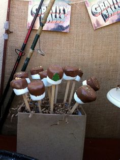 S'more Pops at camping party.  Marshmallows dipped in chocolate, sprinkled with graham crackers.
