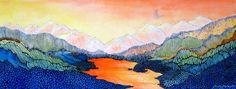 Stylized Colorado Mountain landscape. Wolf Lake 6 by SandAppleArt, $49.00