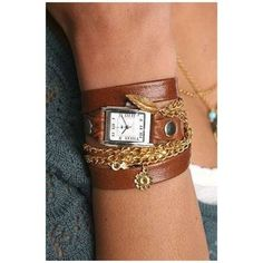 🕐 La Mer Collections by Martine Ilana Watch 🕐 La Mer wrap watch with gold chain and charms. Good condition but leather pulling away shown in photo. La mer Accessories Watches
