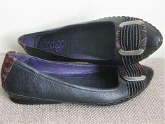 434ab3a76bd INDIGO By CLARKS Women s Leather Buckle Strap Flat Black Sz 7M NEW W O BOX