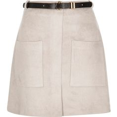 River Island Grey faux suede A-line mini skirt (1.100 RUB) ❤ liked on Polyvore featuring skirts, mini skirts, bottoms, faldas, sale, short skirts, a line mini skirt, short a line skirt, gray mini skirt and faux suede a line skirt