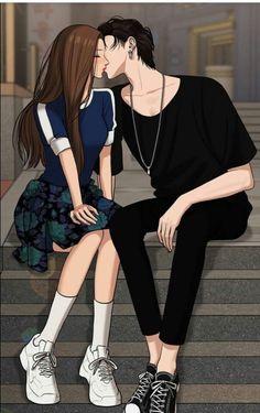 is this official art? Cool Anime Girl, Kawaii Anime Girl, Anime Art Girl, Anime Guys, Cute Couple Art, Anime Love Couple, Romantic Anime Couples, Cute Couples, Anime Love Story