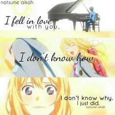 """I fell in #love with you..... For more #AnimeQuote follow @animes.for.otaku  If you like our #quotes share this page with your friends please! We love you so much """"land of anime team"""" #landofanime #hunterxhunter #onepiece #naruto #boruto #killua #luffy #animes #quote #animequotes #kaneki #animes"""