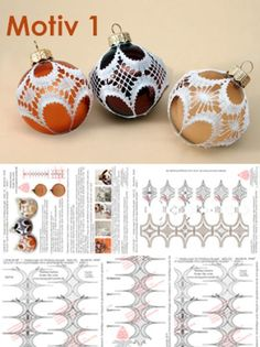 447 decorations for Christmas tree balls 6 cm and 8 cm 6 different patterns - motif 1 - - Christmas Crafts To Sell, Crochet Christmas Decorations, Christmas Tree, Bobbin Lace Patterns, Lacemaking, Lace Jewelry, Crochet Art, Different Patterns, Fabric Crafts