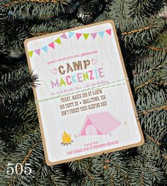 Glam Camping Invitation - Girls Camping Party Invitation by 505 Design Paperie on Etsy, $13.50
