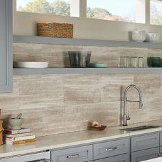 Wood Backsplash, Rustic Backsplash Kitchen, Large Kitchen Tiles, Wood Look Tile, Commercial Kitchen, White Oak, New Kitchen, Condo Kitchen, Kitchen Flooring