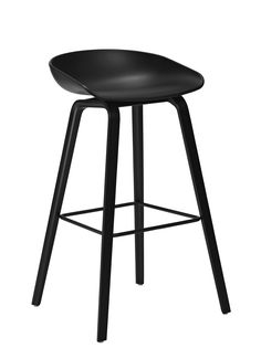 About a stool AAS 32 Bar stool - H 75 cm - Plastic & wood legs Black & black stained wood base by Hay - Design furniture and decoration with Made in Design Bar Stool Chairs, Wood Bar Stools, Kitchen Stools, Counter Stools, Hay Design, Chaise Bar, Black Stains, The Design Files, Cuisines Design