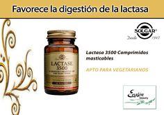 La #Lactasa es el #enzima específica que rompe la #lactosa, el azúcar principal de la leche y productos lácteos, en los azúcares simples sacarosa y galactosa. Sin esta transformación la lactosa no se absorbe y queda en el intestino provocando hinchazón, gases y otras molestias digestivas. La presencia de la lactasa en el sistema digestivo humano se reduce con la edad #Solgar Lactase 3500 favorece, por su potencia, la digestión de los productos lácteos.