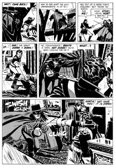 Alex Toth - A page from his Zorro series. Love how effortlessly the ink seems to be applied. Comic Book Artists, Comic Artist, Comic Books Art, Tarzan, A Mascara Do Zorro, Omg Posters, Comic Book Layout, Alex Toth, Comic Book Panels