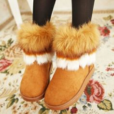 USD13.49Winter Round Toe Flat Low Heel Slip On Ankle Yellow Suede Feathers Snow Boot