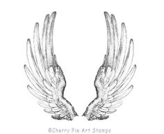 This is a cling mount rubber stamp that's ready to use with your acrylic block. The stamp is made with the highest quality red rubber, trimmed and Angel Wings Drawing, Angel Wings Art, Bird Wings, Wing Neck Tattoo, Angel Wing Tattoos, Human Wings, Wings Sketch, Fairy Tattoo Designs, Animal Sketches