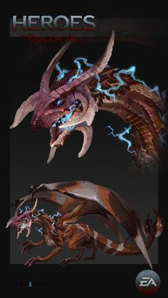 Concepts done for Heroes of Dragon Age mobile game. Fantasy Dragon, Dragon Art, Creature Concept Art, Creature Design, Heroes Of Dragon Age, Dragon Zodiac, Jurassic World Dinosaurs, Fantasy Beasts, Creature Drawings