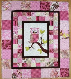 iQuilt long arm quilting service and quilting patterns for finishing and making quilts. Original Raw Edge Appliqué quilting patterns and quilts sold onsite. Quilt Baby, Owl Baby Quilts, Baby Quilt Patterns, Cute Quilts, Girls Quilts, Owl Quilt Pattern, Elephant Quilts Pattern, Owl Patterns, Longarm Quilting