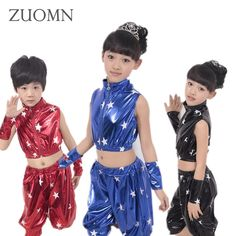 17.75$  Watch now - http://alil9c.shopchina.info/go.php?t=32790261804 - Children Hip Hop Performance Clothing Sets Kids Sequins Dancewear Suits Boys Girls Jazz Modern Dance Costumes YL482 17.75$ #bestbuy