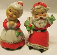 Vintage Christmas Salt And Pepper Shakers