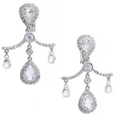 Pre-owned Fred Leighton Rose Cut Briolette Diamond Platinum Dangle... (21 620 AUD) ❤ liked on Polyvore