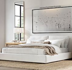 RH's Cloud Platform Slipcovered Bed:A nod to the relaxed modernism of mid-20th-century American design, our Cloud Platform Bed features a low, footless frame with a plushly slipcovered headboard, 100% goose feather back cushions and all-around wide rail.