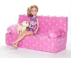 Easy DIY Barbie Couch with a tissue box and some fabric.