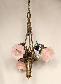 Vintage Floral Basket Chandelier With Grape Accents, c. 1940. #Vintage #Chandelier www.myrlg.com