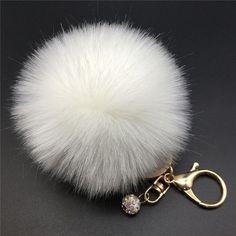 8a8dd64e261af 12 Colors 8cm Handbag Bunny Cute Bag Rhinestone Blank Fluffy Rabbit Fur Pom  Pom Ball Keychain To Locate Keys Stylish Fashion