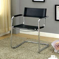 cm-fc617 contemporary, desk chair, home office, black & chrome, leatherette, padded arms, sturdy construction.