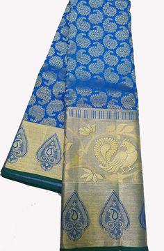 Blue Handloom Kanjeevaram Pure Silk  Saree