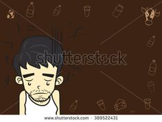 Cartoon boy lovely Character,In sad mood,On brown color background.