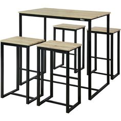 b184fdfbba0092 Set de 1 Table + 4 Tabourets Ensemble Table de Bar Bistrot + 4 Tabourets de