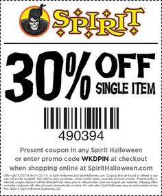 use this special off single item coupon at your local spirit halloween store today this spooktacular offer isnt valid for long - Spirit Halloween Store 2016