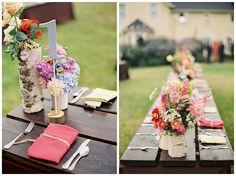 birch bark sleeves, diy napkins and table numbers #wedding
