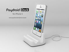 The new Paydroid Dock for iPhone 5.    Five great features:  - Charges and syncs iPhone 5  - One hand lift off  - Four different views  - Premium paint  - Solid 1-piece steel construction    Every dock is made completely of ceramic and hand-crafted in Germany.