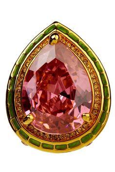 Meghan LA Elizabeth Ring pear shape pink glass stone green gold enamel