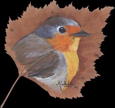 Dry Leaf Art, Autumn Illustration, Feather Painting, Cool Art Drawings, Painted Leaves, Bird Pictures, Beautiful Paintings, Painting & Drawing, Amazing Art