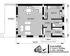 Case cu latimea de 7 metri - 3 proiecte generoase - Case practice Utila, Design Case, House Plans, Modern Design, Floor Plans, Layout, How To Plan, Home, Planes