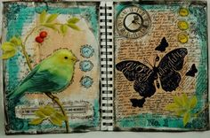 finished pages - art jounal - bird - butterfly