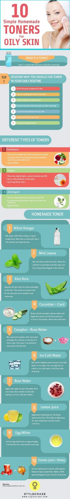 10 Simple Homemade Toners For Oily Skin - 15 Very Best Oily Skin Tips and DIYs | GleamItUp #moisturizerforoilyskin