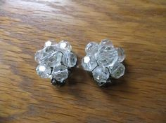 Vintage Clip Earrings Clear Beads Silver by TransformTreasures, $6.00