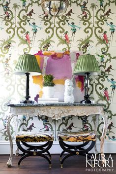 Wallpaper decor, classic console, Entryway Decor Ideas. Modern interior design. foyer design ideas. Interior design ideas. For more inspirational ideas take a look at: www.bocadolobo.com