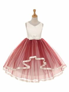V-Neck Satin Bow 3 Layer Berry Tulle Dress