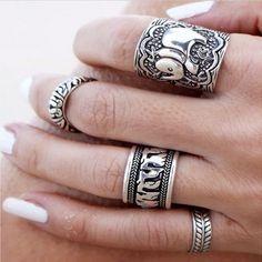 Stile della boemia 4 pz/pck vintage anti argento anelli di colore elefante totem foglia fortunato anelli set per le donne del partito spedizione gratuita