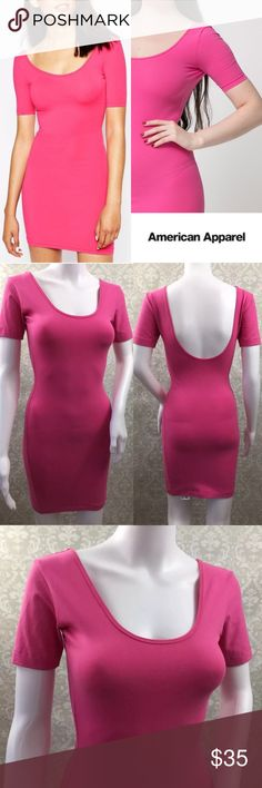 "NWT- 👛🌷American Apparel Fuchsia Pink Mini Dress. NEW! 🔥🔥🔥💖💖💖😜😜😜 American Apparel Fuchsia Pink Double U Neck Short Sleeve Mini Dress. New with tags and is a size medium. No holes, rips, snags, stains, pilling or fading. All our items come from a smoke free and pet friendly environment. Purchased before AA was bought out!  Brand: American Apparel Size: medium Condition: New Color: Pink Made in: USA Materials: Cotton/spandex  Measurements- (Full measurements) Bust: 32-34"" Waist…"