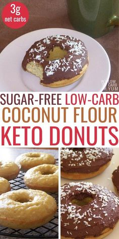 Keto Donuts - An easy recipe for low carb coconut flour donuts. These keto donuts made with coconut flour are perfect for a sweet low carb breakfast treat or snack. Recipes low carb Coconut Flour Low Carb Donuts with Chocolate Icing Keto Friendly Desserts, Low Carb Desserts, Low Carb Recipes, Healthy Recipes, Diet Desserts, Diet Drinks, Diabetic Friendly, Keto Snacks, Healthy Foods